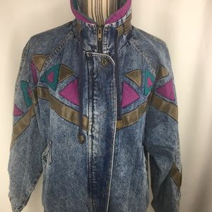 Vintage denim jacket lined grunge medium